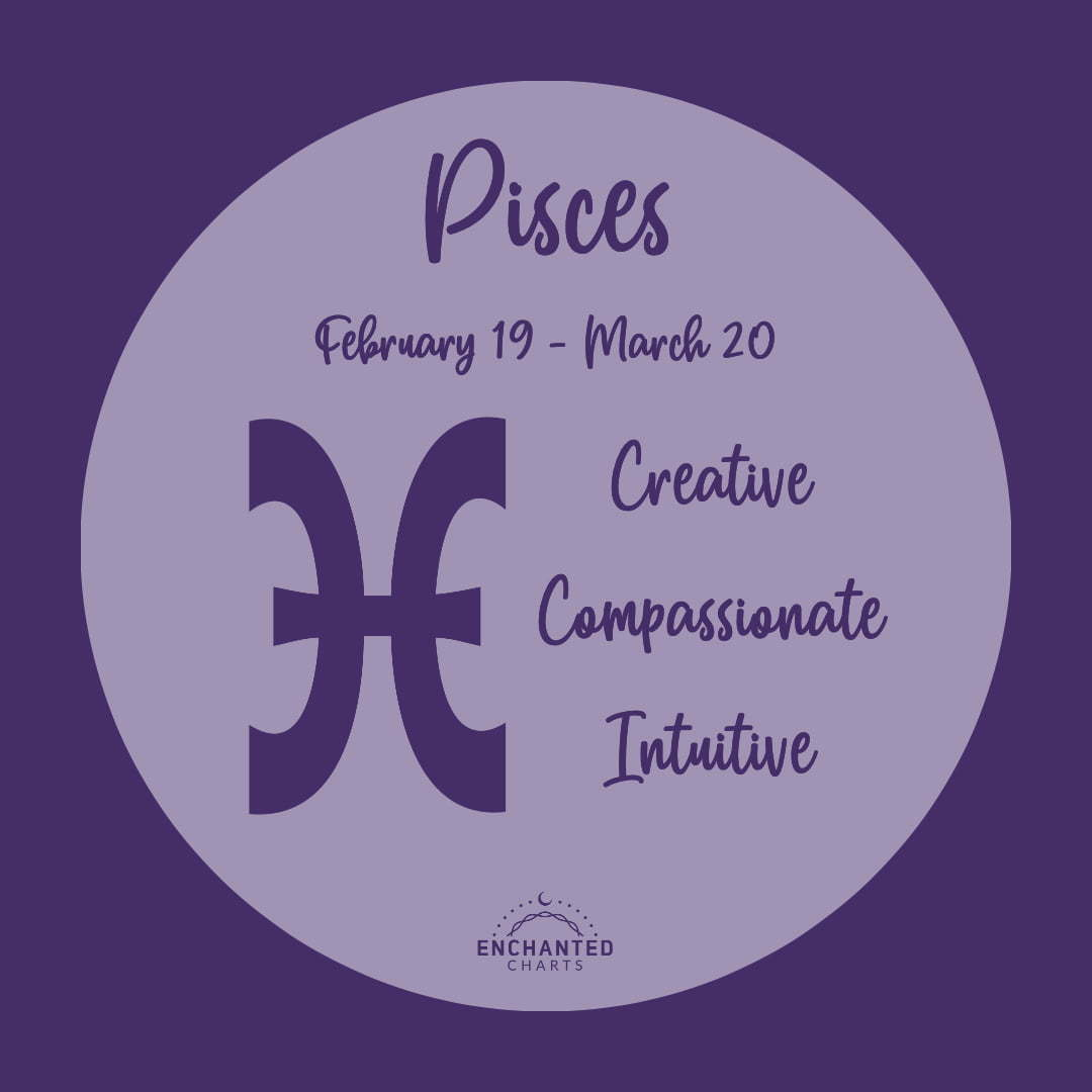 Sun Sign Pisces Feb 19-Mar 20 Creative Compassionate Intuitive